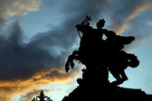 Paris - silhouette of statue of Renommee from Tuileries garden — Stock Photo