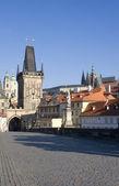 Prague - look from Charles bridge in morning — Stock Photo
