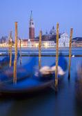 Venice - gondolas and San Giorgio di Magiore church — Stock Photo