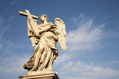 Rome - angel with the cross by Ercole Ferrata - Angels bridge — Stock Photo