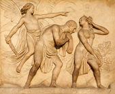 Milan - detail from facade of Duomo - Expulsion from Paradise — Stock Photo