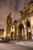 Paris - Saint Germain-l'Auxerrois gothic church in night — Stock Photo