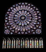 Ages, architecture, canopy, cathedral, christ, christendom, color, europe, faith, france, glass, gothic, history, holy, interior, mary, medieval, meditation, middle, notre-dame, paris, religion, relig — Zdjęcie stockowe