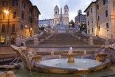 Rome - Spain stairs in morning and Chiesa della Trinita dei Monti church — Stock Photo