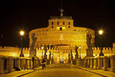 Rome - Angels castle and bridge at nihgt — Stock fotografie