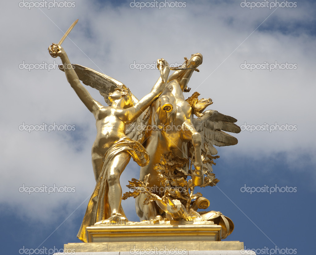 Paris - statue in gold from Alexandre III bridge  Stock Photo #10152092