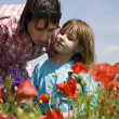 Mother and daughter on the meadow - Stock Photo