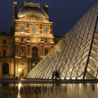 Paris - Louvre pyramid in evening - Stock Photo