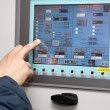 Touch panel and hand — Stock Photo