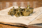 Bratislava - old phramacy by st. Elisabeth order - weights and old book — Stock Photo