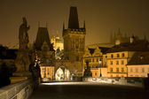 Prague - outlook from Charles bridge at night — Stock Photo