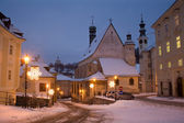 Banska Stiavnica - Slovakia - unesco monument - Gothic church and New castle in morning — Stock Photo