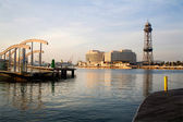 Barcelona waterfront in morning - world trade center and Jaume tower — Stock Photo