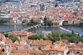 Prague - outlook from Petrin to Charles bridge — Stock Photo