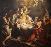 Birth of Jesus - paint from Milan church — Stock Photo
