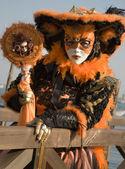 Venice - orange mask from carnival — Stock Photo