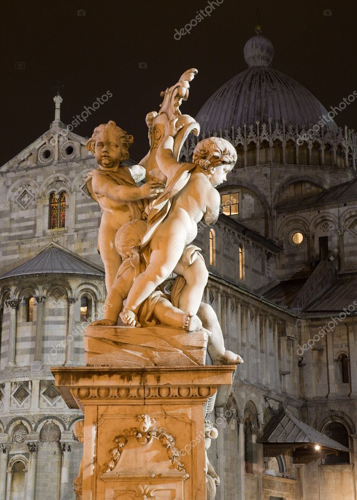  Pisa - statue of angles and cathedral in the night - piazza dei miracoli   Stock Photo #10219728