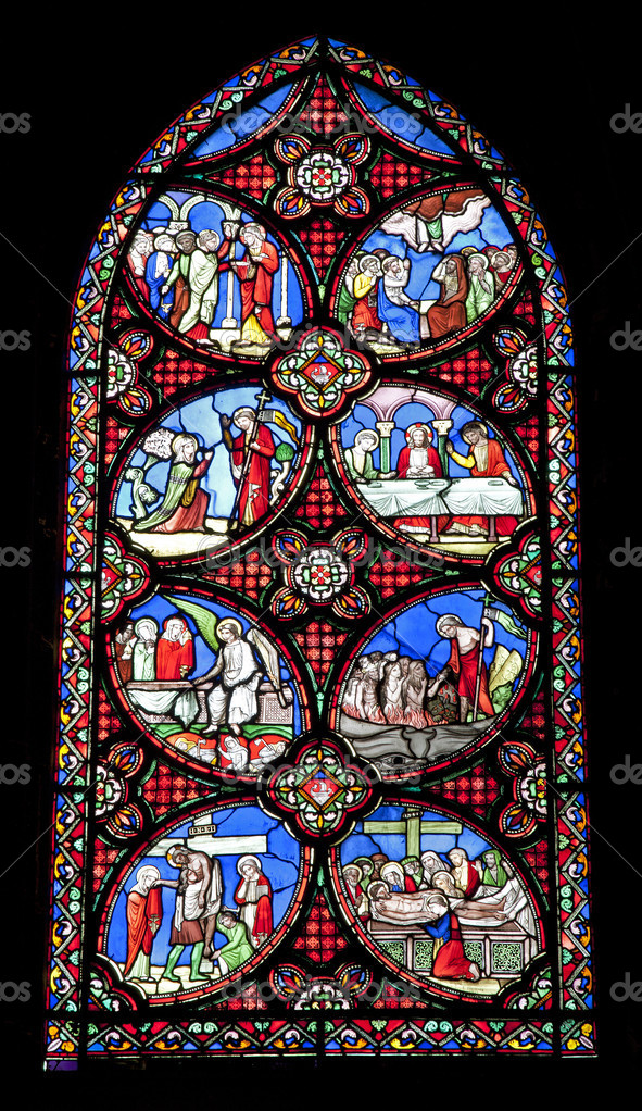 Paris - windowpane from Saint Denis gothic church — Stock Photo #10219786