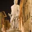 Florence - Neptun fountain in the night from Ammannati 1575 — Stock Photo