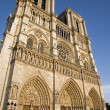 Paris - NOtre Dame cathedral in evening light - Stock Photo