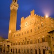 Siena - Town-hall and Torre del Mangia in the nigh — Stock Photo #10221121