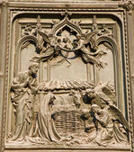 Milan - detail from main bronze gate - Christmas - crib — Zdjęcie stockowe
