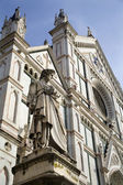 Florence - Dante Allighieri by cathedral Santa Croce — Stock Photo