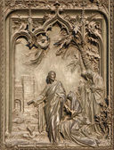 Milan - detail from main bronze gate - apparition of Jesus to Mary of Magdalene — Stock Photo