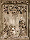Milan - detail from main bronze gate - Annuntiation — Stock Photo