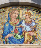 Pisa - mosaic of holy mary with the Jesus - Chiesa e convento di San Torpe — Stock Photo