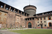 Milan - atrium of Sforza castle — Stock Photo
