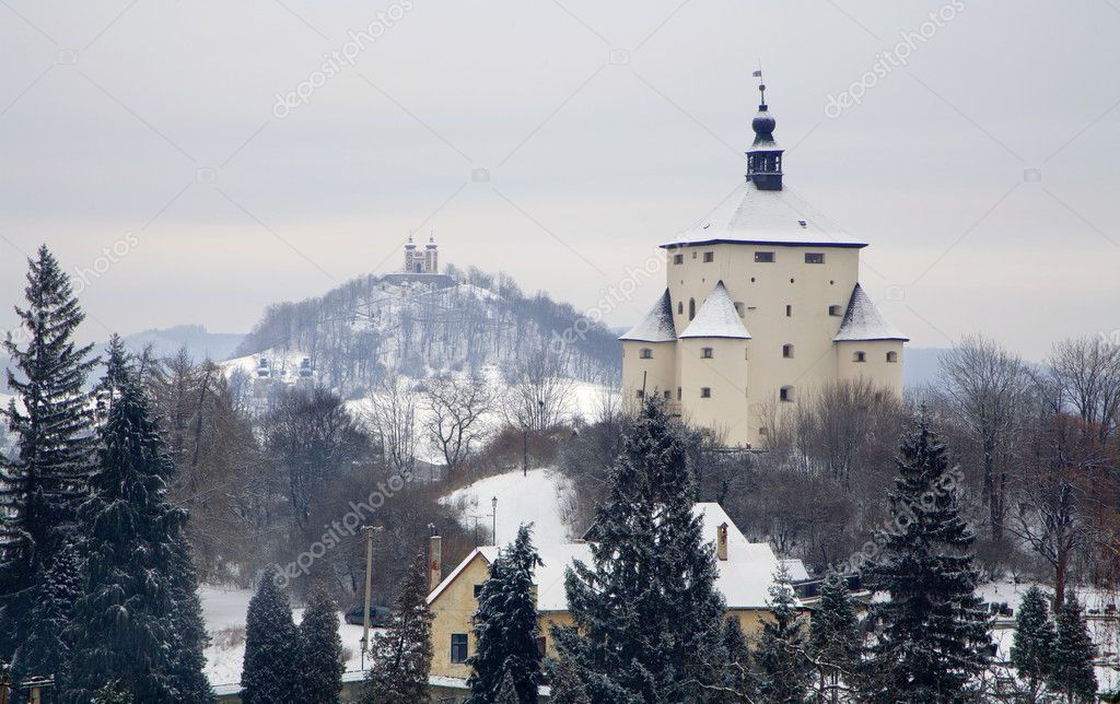 new castle and calvary in Banska Stiavnica - Slovakia - unesco monument  — Stock Photo #10220582