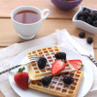 Stock Photo: Belgiwaffles with fresh berrys
