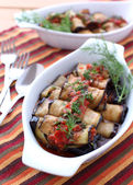 Roasted eggplant rolls stuffed with tomato — Foto Stock