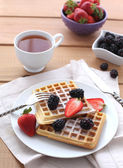 Belgian waffles with fresh berrys — Stock Photo
