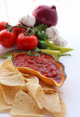 Nachos and salsa dip in a bowl — Stock Photo