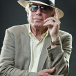 Senior dandy style man wearing suit and hat with vintage sunglasses. — Stock Photo