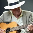Senior jazz musician with accoustic guitar wearing hat and sunglasses. — Stock Photo