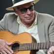 Senior jazz musician with accoustic guitar wearing hat and sunglasses. — Stock Photo #10163187