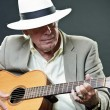 Senior jazz musician with accoustic guitar wearing hat and sunglasses. — Stock Photo #10163201