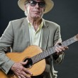 Senior jazz musician with accoustic guitar wearing hat and sunglasses. — Stock Photo #10163225