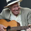 Senior jazz musician playing accoustic guitar. Wearing suit and hat. — Stock Photo