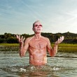 Senior healthy man enjoying nature on beautiful summer day. — Stock Photo