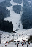 Bansko, a well-known ski resort, ski track, Balkans Bulgaria — Stock Photo