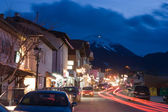 Bansko, traffic street at night, well-known ski resort, Bulgaria, Balkans — Stock Photo