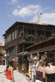 An old street and wooden houses, Nessebar Black Sea resort — Stock Photo