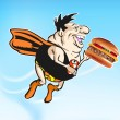 Super Dynamic Cheeseburger Dude - Stock Vector