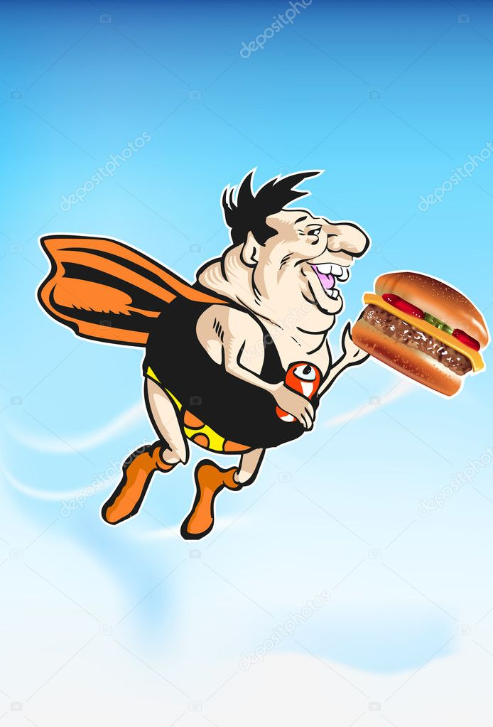 Super Dynamic Cheeseburger Dude replenishes his power by eating a vitamin and protein rich Cheeseburger. while happily flying and sipping a soft drink. — Stock Vector #10283140