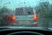 Rain dripped on glass — Stock Photo