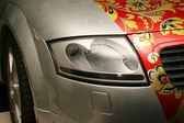 Airbrush on a car — Stock Photo